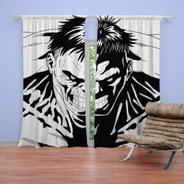 Red Hulk Green Hulk Pencil Drawn Curtain
