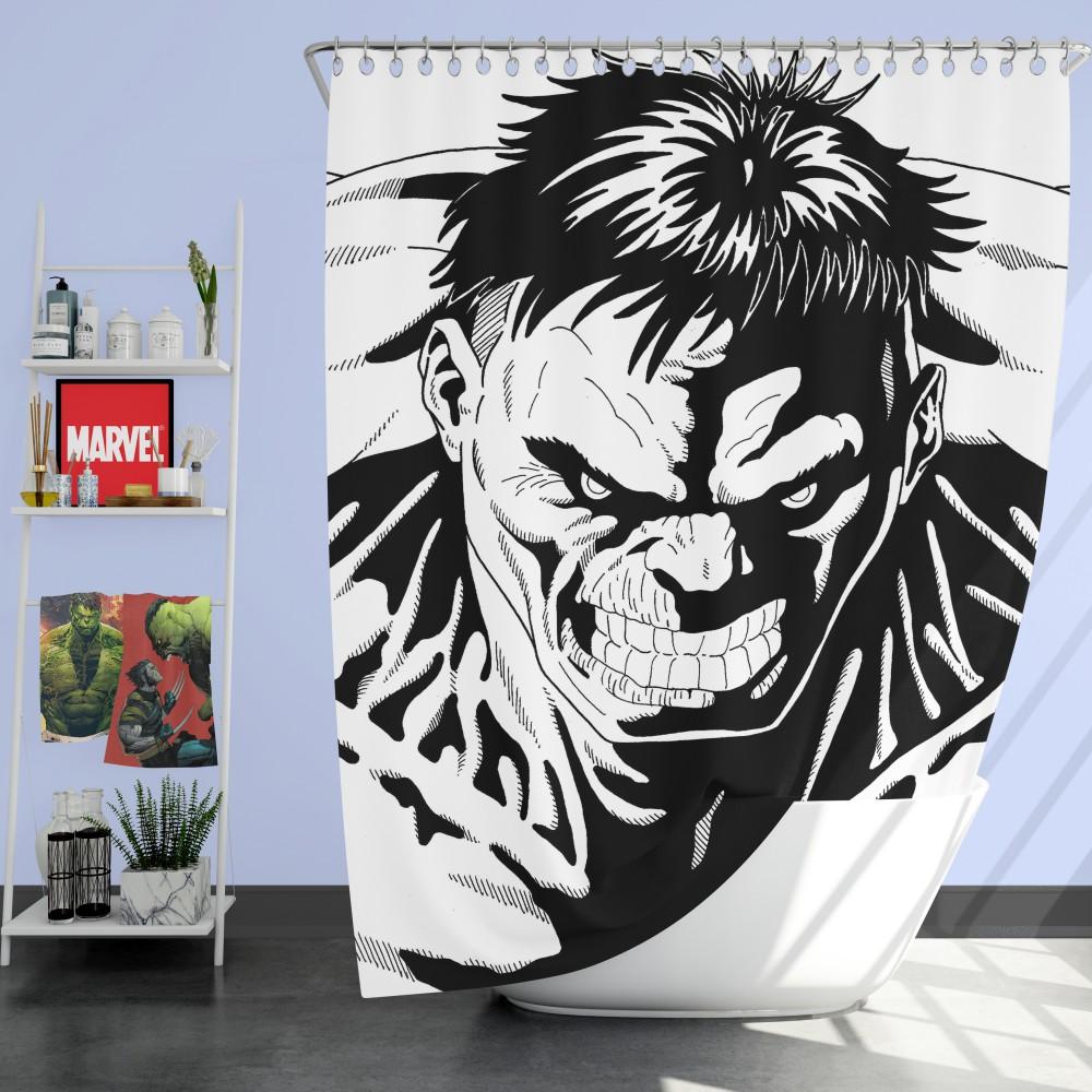 Red Hulk Green Hulk Pencil Drawn Shower Curtain