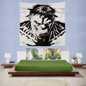 Red Hulk Green Hulk Pencil Drawn Wall Hanging Tapestry