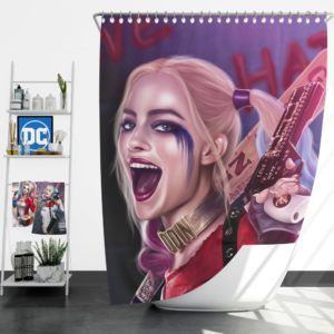 Suicide Squad Harley Quinn Margot Robbie Artistic Shower Curtain