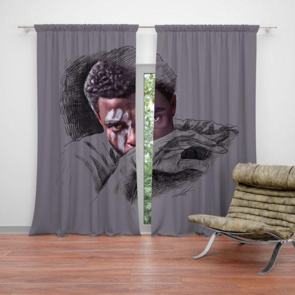 T'Challa Black Panther Minimal Artwork Print Curtain