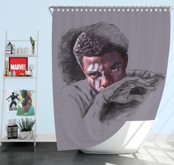 T'Challa Black Panther Minimal Artwork Print Shower Curtain