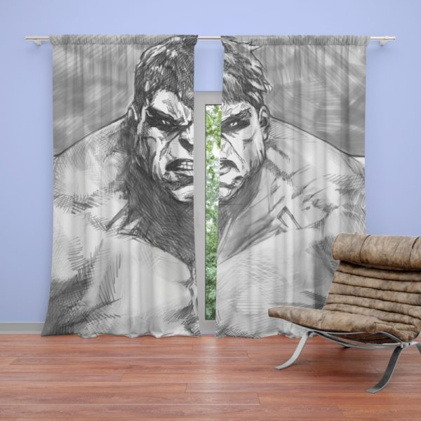The Hulk Black And White Sketch Curtain