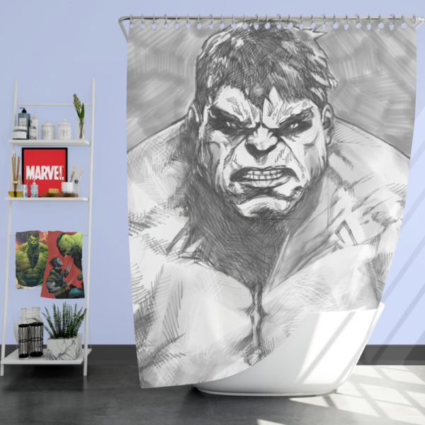 The Hulk Black And White Sketch Shower Curtain