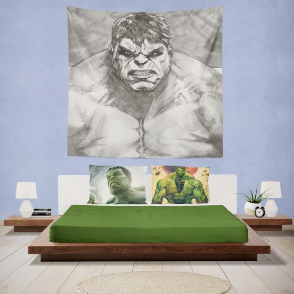 The Hulk Black And White Sketch Wall Hanging Tapestry