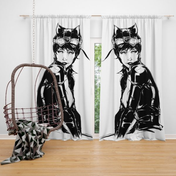 Catwoman Sketch Drawing Curtain