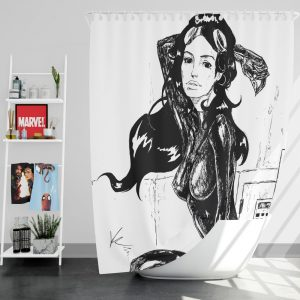 DC Dark Knight Catwoman Black and White Shower Curtain