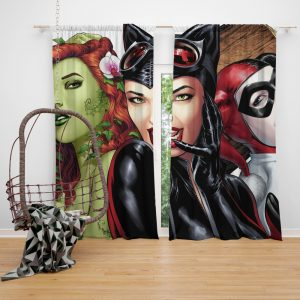DC Gotham City Sirens Harley Quinn Poison Ivy Catwoman Curtain