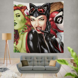 DC Gotham City Sirens Harley Quinn Poison Ivy Catwoman Wall Hanging Tapestry