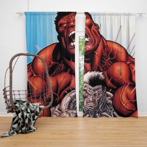 Avengers Red Hulk & Cable Marvel Comics Bedroom Window Curtain