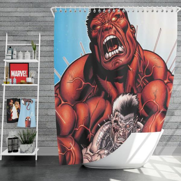 Avengers Red Hulk & Cable Marvel Comics Shower Curtain