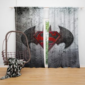 Batman v Superman Dawn of Justice Movie Logo Bedroom Window Curtain
