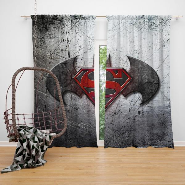 Batman v Superman Dawn of Justice Movie Logo Bedroom Window Curtain