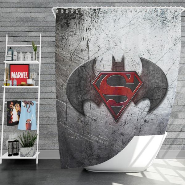 Batman v Superman Dawn of Justice Movie Logo Shower Curtain