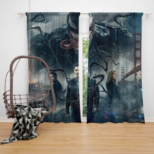 Deadpool and Venom Crossover Comics Bedroom Window Curtain
