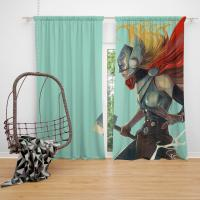 Lady Thor Marvel Comics Bedroom Window Curtain
