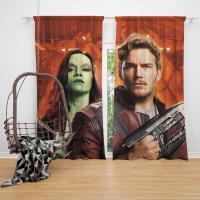Peter Quill Star Lord Gamora Chris Pratt Zoe Saldana Guardians of the Galaxy Vol 2 Movie Bedroom Window Curtain