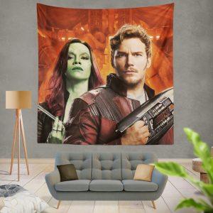 Peter Quill Star Lord Gamora Chris Pratt Zoe Saldana Guardians of the Galaxy Vol 2 Movie Wall Hanging Tapestry