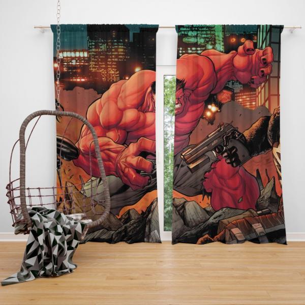 Red Hulk Circle of Four X 23 Marvel Comics Bedroom Window Curtain