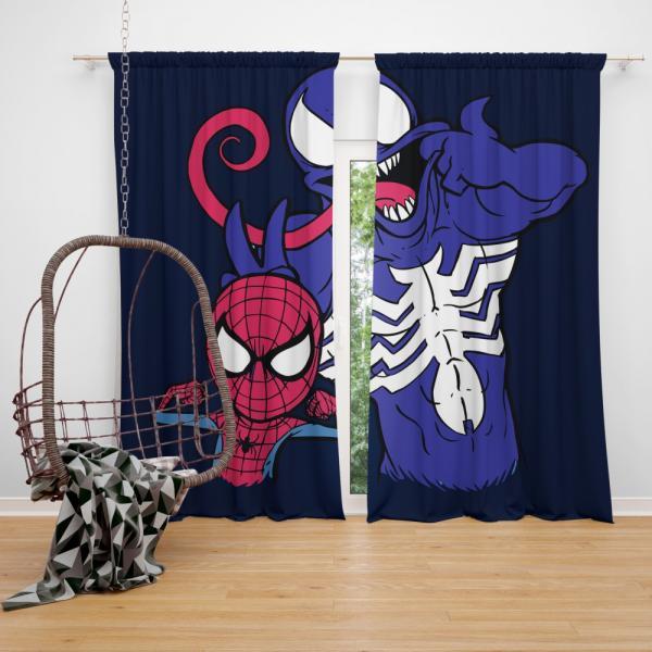 Spider Man & Venom Marvel MCU Artwork Bedroom Window Curtain
