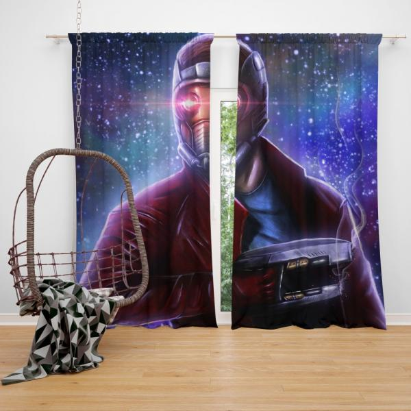 Star Lord Guardians of the Galaxy Artwork Peter Quill Bedroom Window Curtain