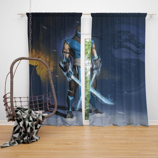 Sub Zero Sword Warrior Mortal Kombat Video Game Bedroom Window Curtain
