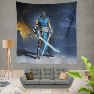 Sub Zero Sword Warrior Mortal Kombat Video Game Wall Hanging Tapestry