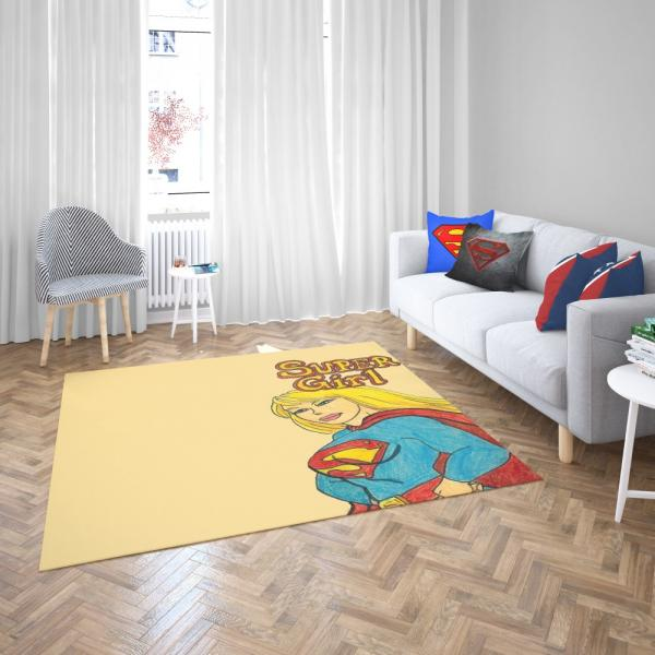 Supergirl DC Comics Kara Zor-El Justice League Bedroom Living Room Floor Carpet Rug