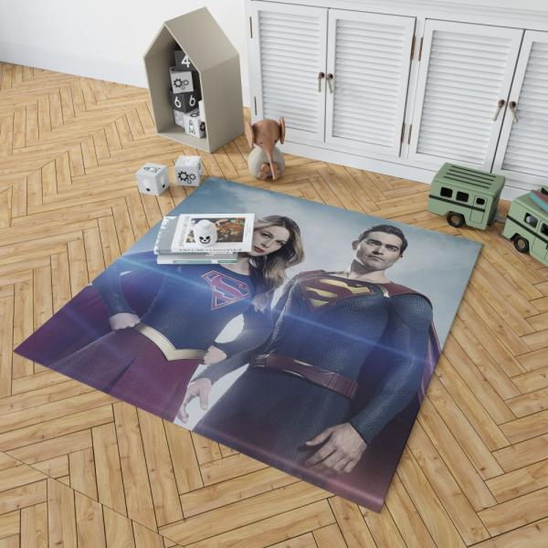 Supergirl and Superman TV Show Melissa Benoist Tyler Hoechlin Bedroom Living Room Floor Carpet Rug