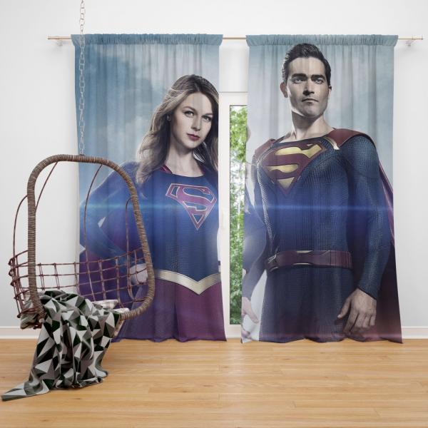 Supergirl and Superman TV Show Melissa Benoist Tyler Hoechlin Bedroom Window Curtain