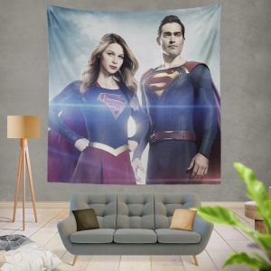 Supergirl and Superman TV Show Melissa Benoist Tyler Hoechlin Wall Hanging Tapestry