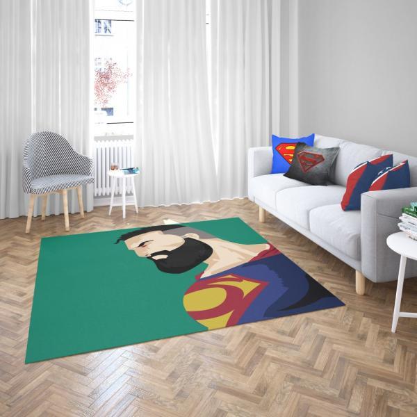 Superman Beard DC Comics Justice League Bedroom Living Room Floor Carpet Rug