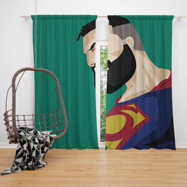 Superman Beard DC Comics Justice League Bedroom Window Curtain