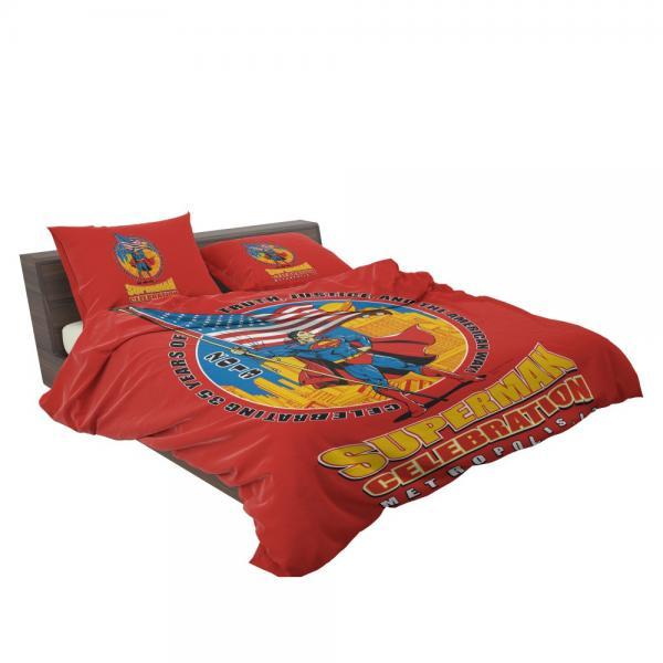 Superman Celebration Metropolis Illinois Bedding Set