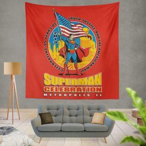 Superman Celebration Metropolis Illinois Wall Hanging Tapestry
