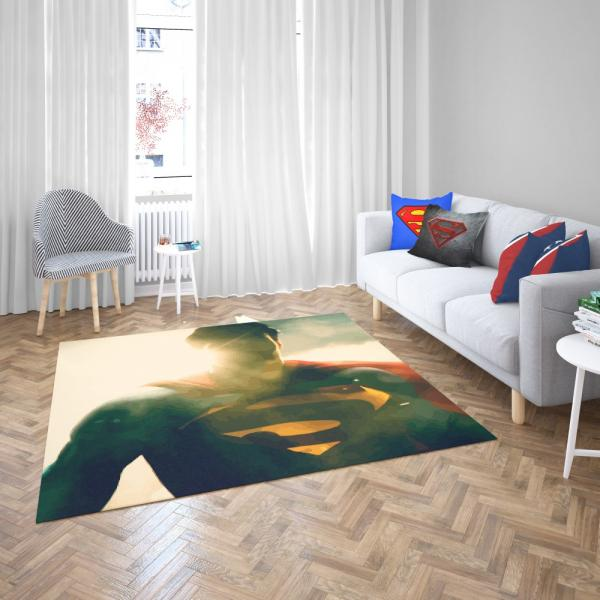 Superman DC Comics Super Hero Bedroom Living Room Floor Carpet Rug