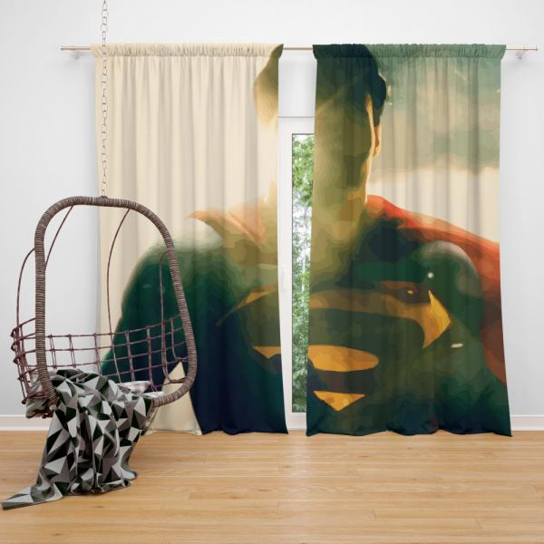 Superman DC Comics Super Hero Bedroom Window Curtain