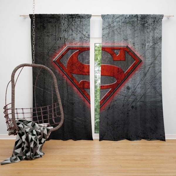 Superman Logo DC Comics Bedroom Window Curtain