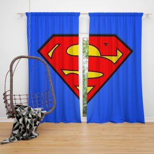 Superman Logo DC Comics Justice League Bedroom Window Curtain