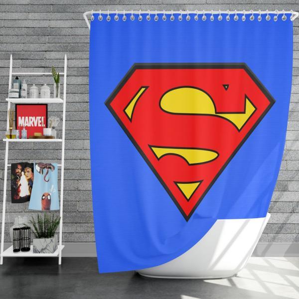 Superman Logo DC Comics Justice League Shower Curtain