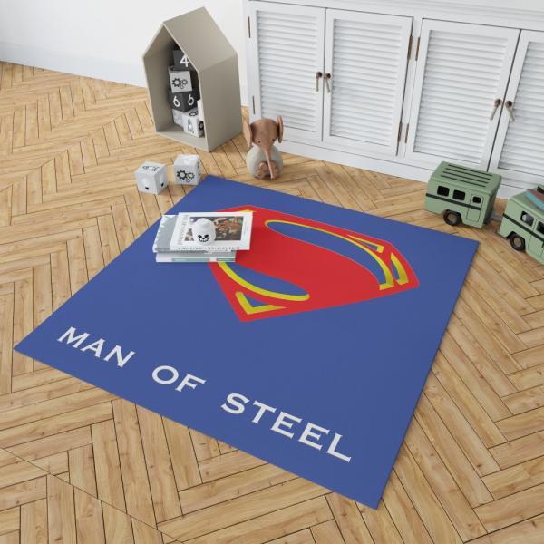 Superman Logo in Man Of Steel Movie Bedroom Living Room Floor Carpet Rug