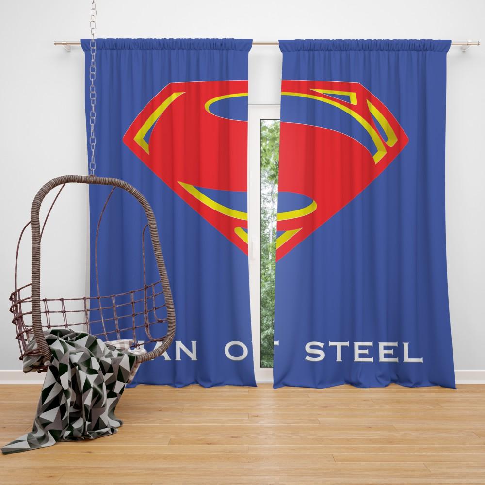 Superman Logo In Man Of Steel Movie Bedroom Window Curtain Super Heroes Bedding