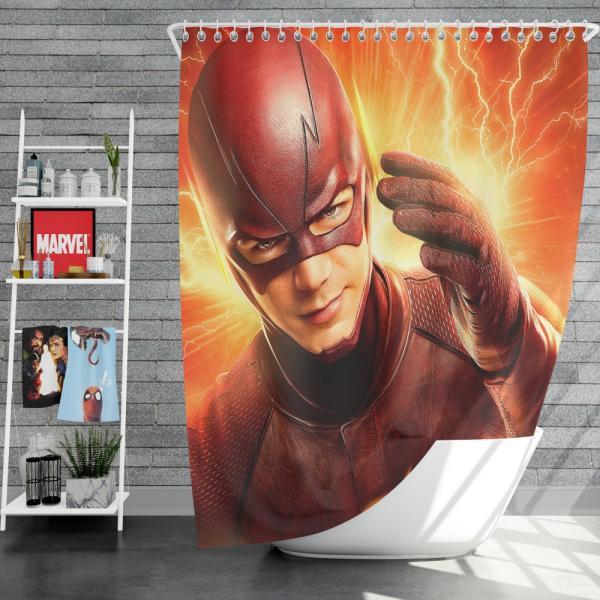 The Flash Season 2 Grant Gustin Barry Allen Shower Curtain