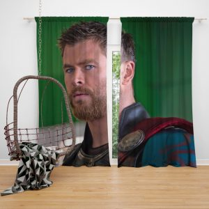 Thor Ragnarok Movie Avengers Unity Squad Chris Hemsworth Bedroom Window Curtain