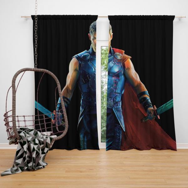 Thor Ragnarok Warriors Three Chris Hemsworth Bedroom Window Curtain