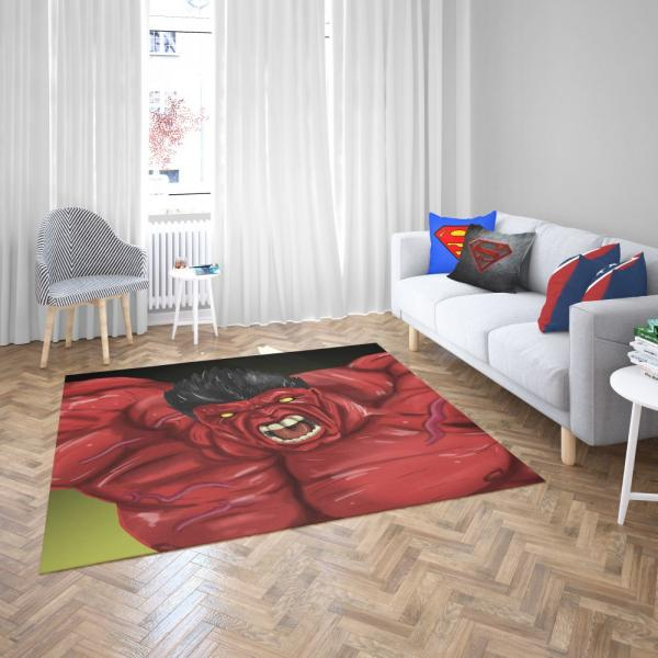 Thunderbolt Ross Red Hulk Marvel Comics Bedroom Living Room Floor Carpet Rug