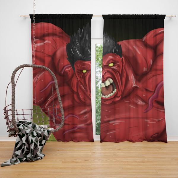 Thunderbolt Ross Red Hulk Marvel Comics Bedroom Window Curtain