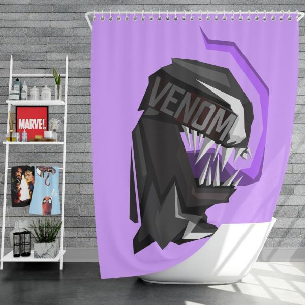 Venom Movie Eddie Brock Carlton Drake Antihero Symbiote Shower Curtain