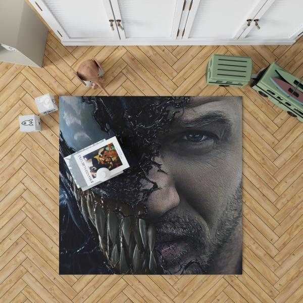 Venom Movie Tom Hardy Face Man Secret Avengers Bedroom Living Room Floor Carpet Rug