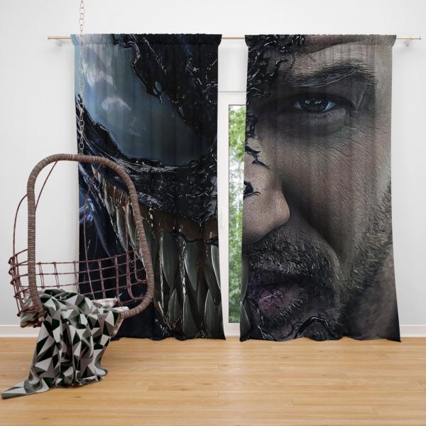 Venom Movie Tom Hardy Face Man Secret Avengers Bedroom Window Curtain